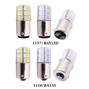 Image 2 - 1 Pc S25 1156 BA15S P21w 1157LED Witte Lichten 5050 12SMD Silicagel DC12V Auto Achterlichten Parking Brake lamp Richtingaanwijzer Lamp