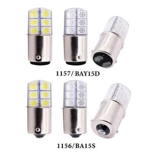 Image 2 - 1pc S25 1156 BA15S p21w 1157LED Weiß Lichter 5050 12SMD Silica gel DC12V Auto Hinten Schwanz Parkplatz Licht bremse lampe blinker Birne