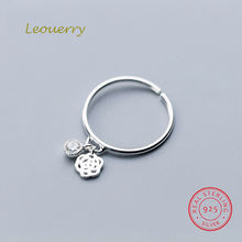 Leouerry 925 Sterling Silver Hollow Rose Flower Zircon Open Rings Women Elegant Thin Finger Ring For Weddding Party Jewelry