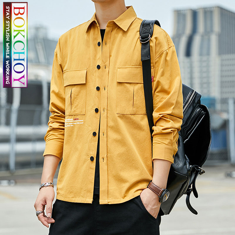 Vintage Men Long Sleeve Shirt, 2019New, Solid Color, Cotton, Moto & Biker, Work Clothes, Bokchoy - Stay Stylish While Working