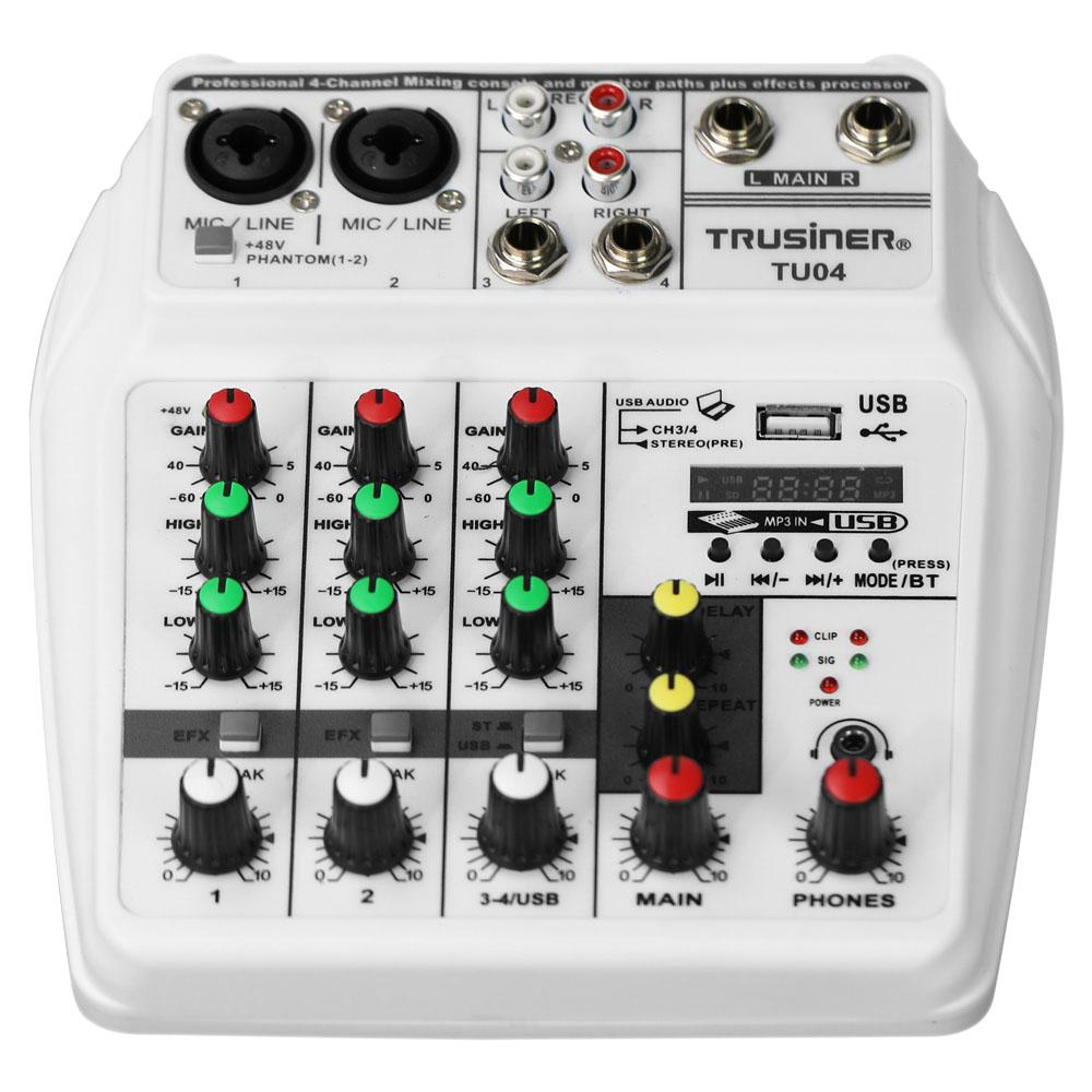 Kuulee Sound Mischpult Rekord 48V Phantom Power Monitor AUX Wege Plus Effekte 4 Kanäle Audio Mixer mit USB