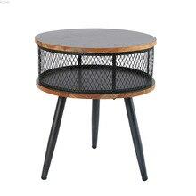 Muebles modernos Vintage madera maciza pequeña mesa de centro Oficina sala de estar sofá desmontaje lateral gris almacenamiento pequeña mesa redonda