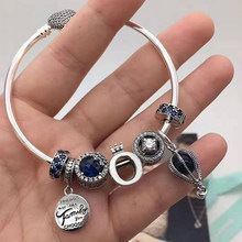 CHAMSS High Quality 925 Sterling Silver Shine Crown O Glamour Blue Hot Air Balloon Bracelet Original Female Fashion Jewelry(China)