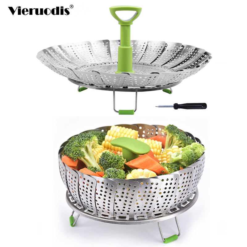 Dish Steamer Cookware Steaming Food Basket Mesh Stainless Steamer Folding Food Fruit Vegetable Vapor Cooker Kitchen Accessories