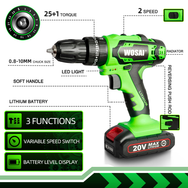 WOSAI 20V Impact Electric Battery Cordless Hand Electric Drill Three Funct Screwdriver Home Diy Power Tools Home Decoration