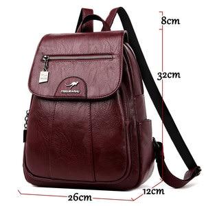 Image 3 - 2020 женские кожаные рюкзаки, высокое качество, Женский винтажный рюкзак для девочек, школьная сумка, дорожная сумка, женский рюкзак