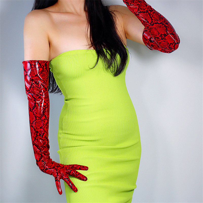 Snakeskin Extra Long Gloves 60cm Patent Leather Faux Leather PU Shine Leather Animal Pattern Python Red Female WPU151