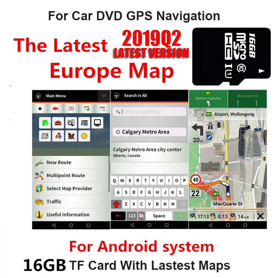 16GB Euro Map Micro Sd Card Only for Android System Car Gps Navigation The Latest 2019Q2 Map of Europe|GPS Accessories| |  - title=