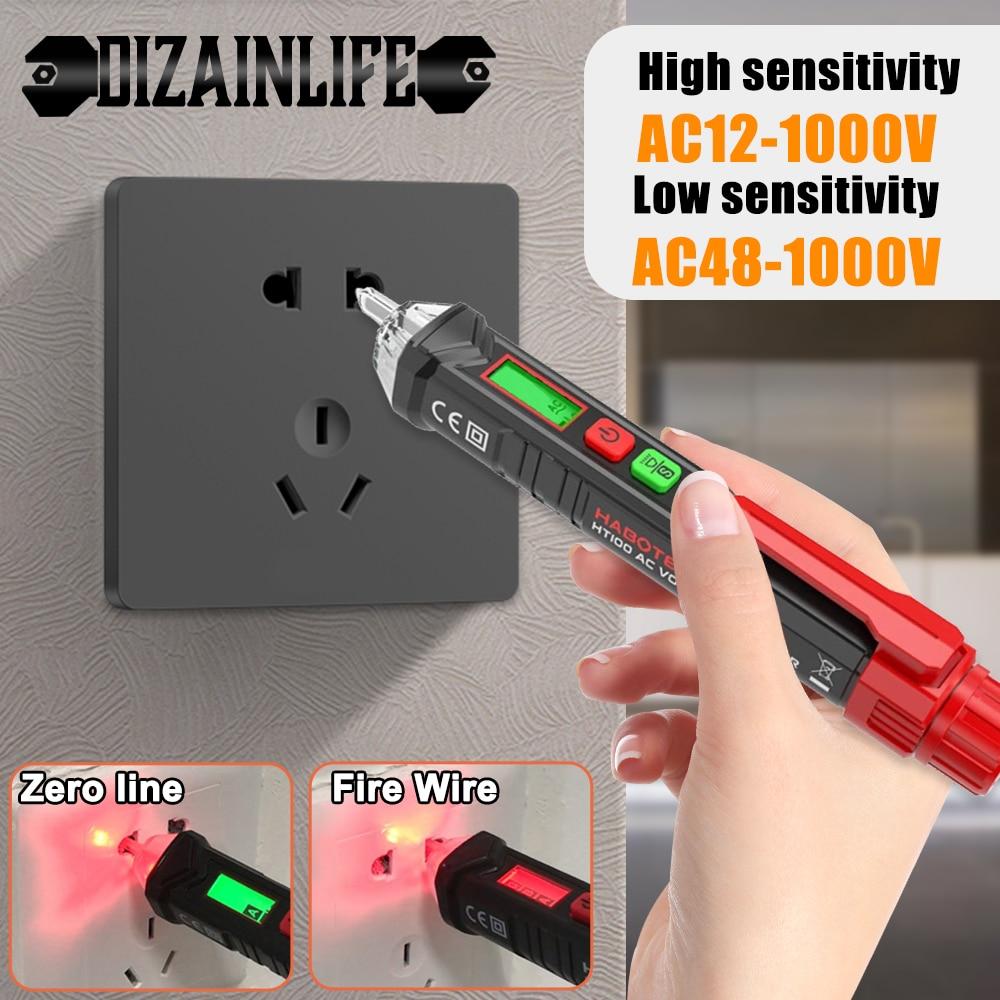 Non Contact AC Voltage Detectors Pen Smart Digital Voltage Tester Pen Indicator Meter Electricity Sensor Test Pencil 12V-1000V