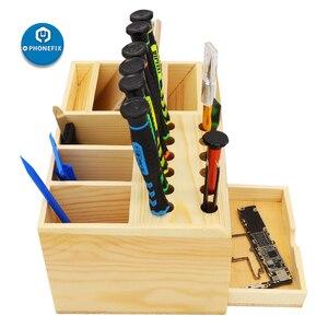 Image 4 - Çok fonksiyonlu ahşap saklama kutusu tornavida seti elektronik aletler konteyner cımbız vidalar kazıyıcı anakartlar depolama