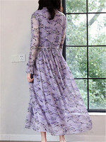 Purple Chiffon Dress Women's 2019 Spring Clothing New Style Long Sleeve Frilled Fairy Skirt Long Crew Neck Floral Dress