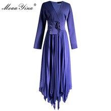 MoaaYina אופנה מעצב שמלת אביב סתיו נשים שמלה V צוואר ארוך שרוול חגורת קפלים סימטרי שמלות