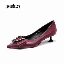 JANE HARLOW red bottom high heels Genuine Leather kitten metal decoration sexy High-heels Catwalk Elegant Strappy