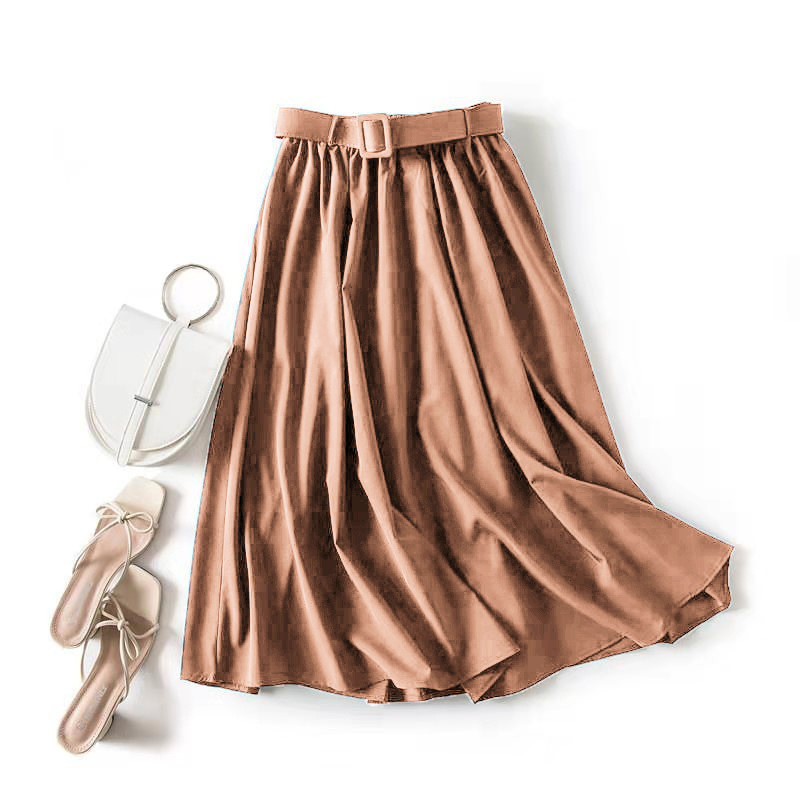 Summer Women Skirt With Belt 2020 Summer  Classic A Word Skirt Thin Solid Color Skirt High Waist Retro Loose Mid-length Skirt