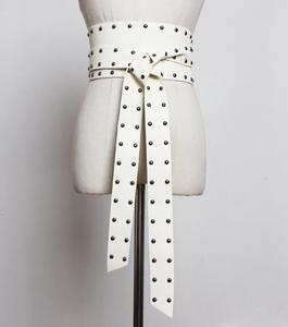 Женская подиумная Мода заклепки винтажный pu кожаный панковский ремень женское платье Корсеты пояс с пряжкой Украшение широкий пояс R1827