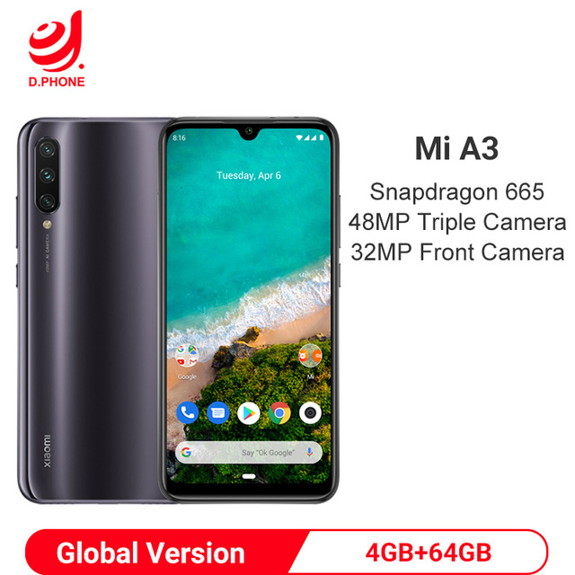 Global Version Xiaomi MI A3 4GB 64GB Snapdragon 665 Octa Core 48MP Triple Cameras 32MP Front Camera 4030mAh Smartphone