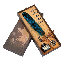 лучшая цена Antique Vintage Feather Pen Calligraphy Dip ink Office Writing Pens Color Quill Student Stationery Metal Fountain Pen Gift Set