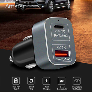 Image 4 - Amstar 60W Autolader Usb C Pd Charger Quick Charge 3.0 Snelle Auto Oplader Voor Iphone 11 Pro xs Xr X 8 Ipad Macbook Samsung 10 + 9