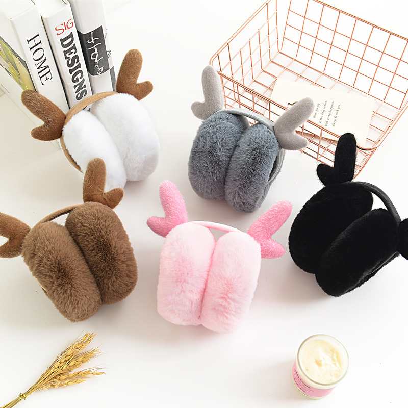 Cute Reindeer Fur Winter Earmuffs Ear Christmas Warmers Winter Comfort Earmuffs Warm Winter Earmuffs For Women Girls Boys