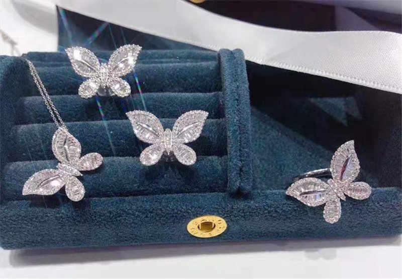 פרפר עגיל תליון טבעת תכשיטי סט אמיתי 925 כסף סטרלינג קומפקטי cz חתונה עגילי טבעות שרשרת לתכשיטי נשים