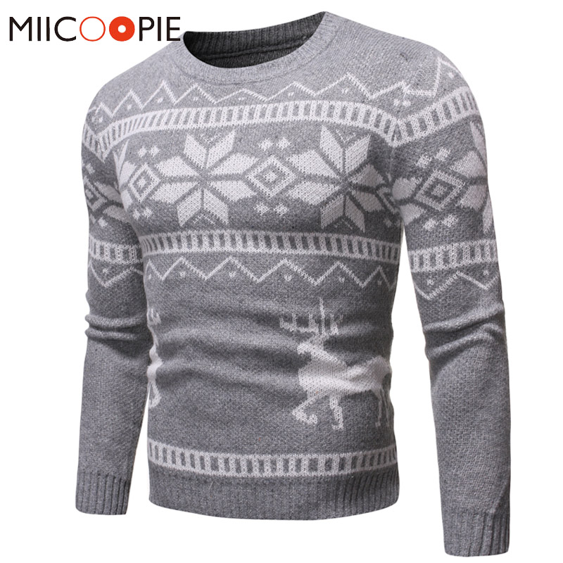 Christmas Elk Pullover Men Winter Fashion Snowflake Print Long Sleeve Mens Sweater Coats Classic Slim Round Neck Erkek Mont XXL