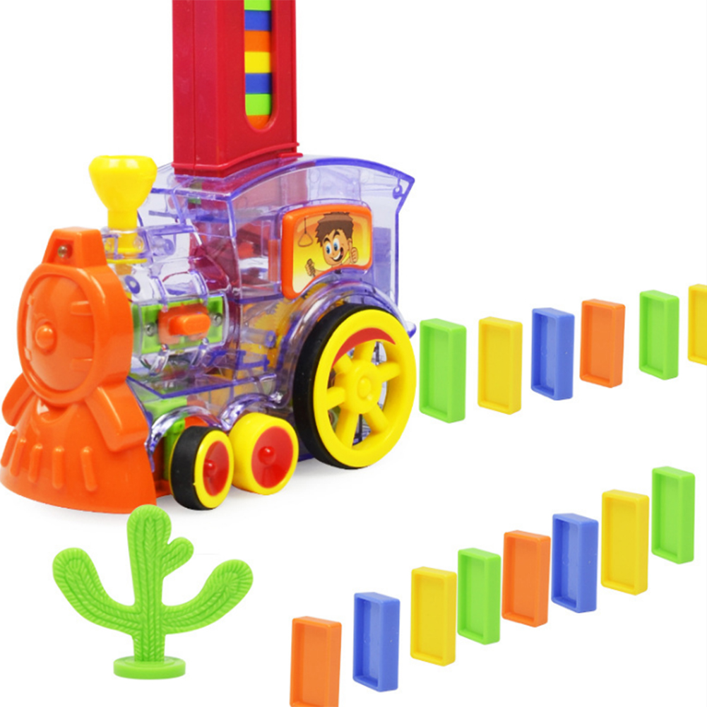 Domino Train Car Set Kids Sound Light Automatic Laying Domino Brick Colorful Dominoes Blocks Game Toys Set Gift For Boys Girls