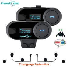 2 pçs original freedconn atualizado TCOM SC bluetooth capacete da motocicleta interfone fone de ouvido com tela lcd rádio fm tcom sc