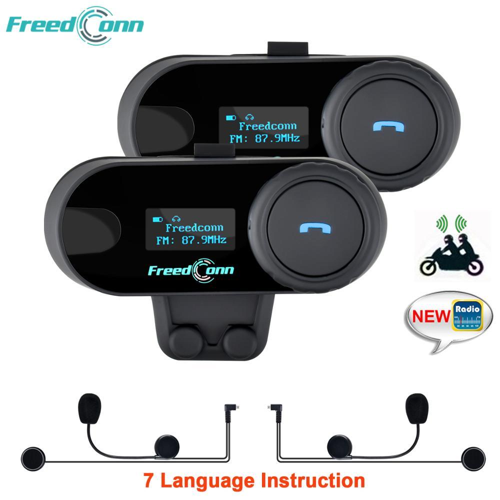 2pcs Original FreedConn Updated TCOM-SC Bluetooth Motorcycle Helmet Intercom Interphone Headset With LCD Screen FM Radio TCOM SC
