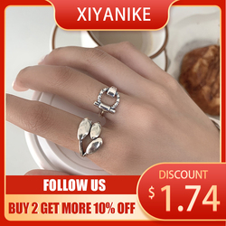 XIYANIKE Ring Belt Buckle Round Dongdaemun INS Trend Cold Hip-hop Ring Silver Plated leaf jewelry Couple Gift