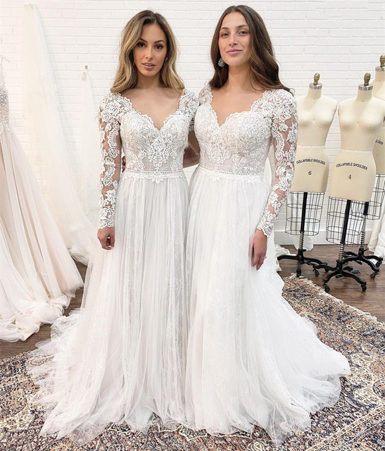 Long Sleeve Wedding Dress With Corset Low Back Floor length Lace Appliques Bridal Gowns White Tulle Organza Graceful V-Neck 4