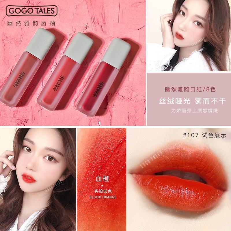 GOGO TALES Crafted Elegance Matt Lip Glaze Rotten Tomato Color Moisturizing Waterproof Lipstick