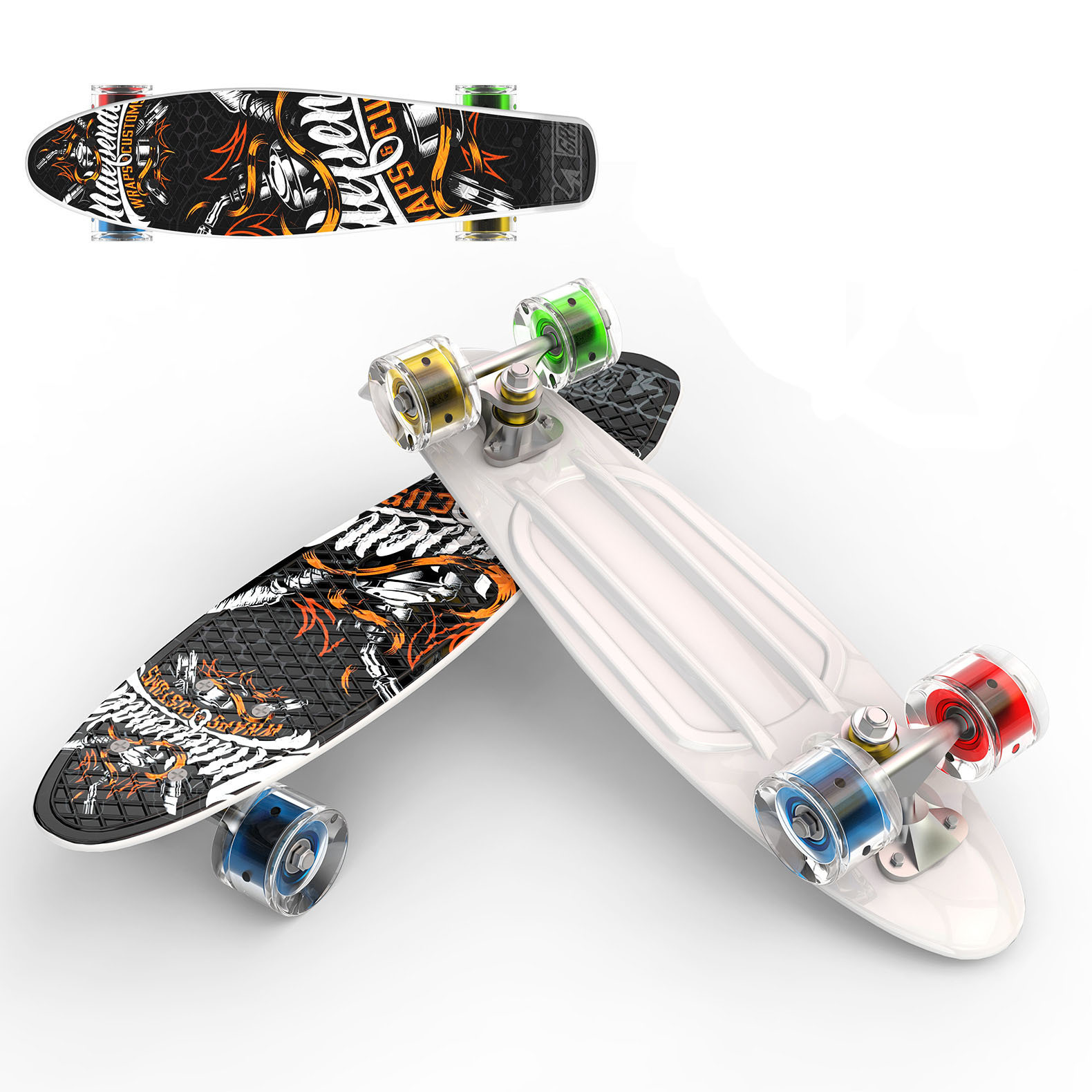 Manufacturers Single Rocker Four Wheel Skateboard  ride Instead Of Walk Printed Fish-shaped Board 22-Inch Fish-shaped Sole Board