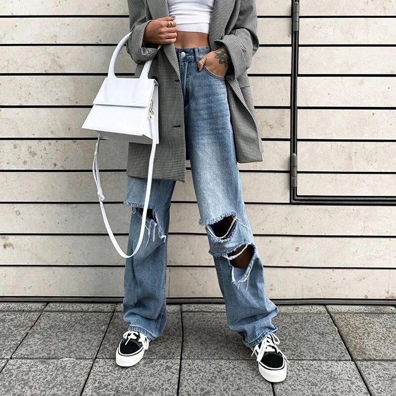 2019 Европа и Соединенные Штаты уличная стрельба взрывы женские осенние горячие новые с дырками и высокой талией широкие джинсы