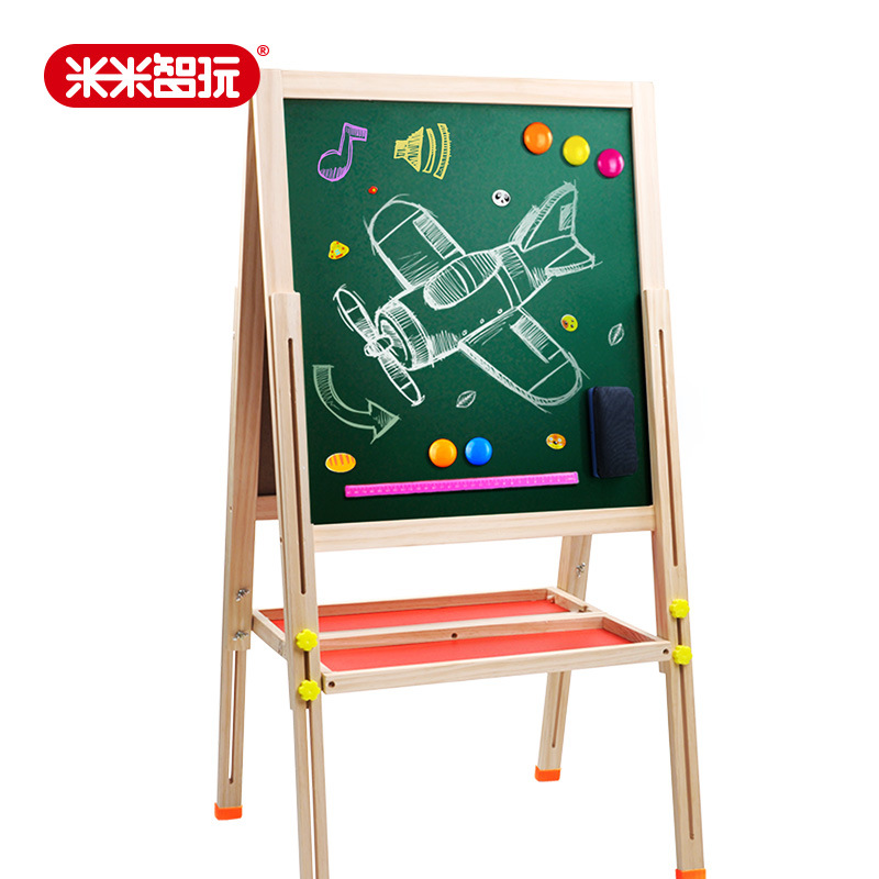Solid Wood Double-Sided Height Adjustable CHILDREN'S Drawing Board Easel Small Blackboard Set-Magnetic Braced Writing Board