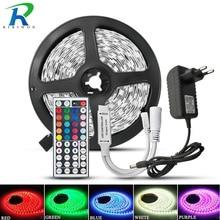 RiRi Giành SMD5050 RGB Đèn LED Strip 5M 10M 30 Đèn LED/M 12V Băng Ruy Băng diode Linh Hoạt Chống Nước 44 Phím Điều Khiển Bộ Adapter