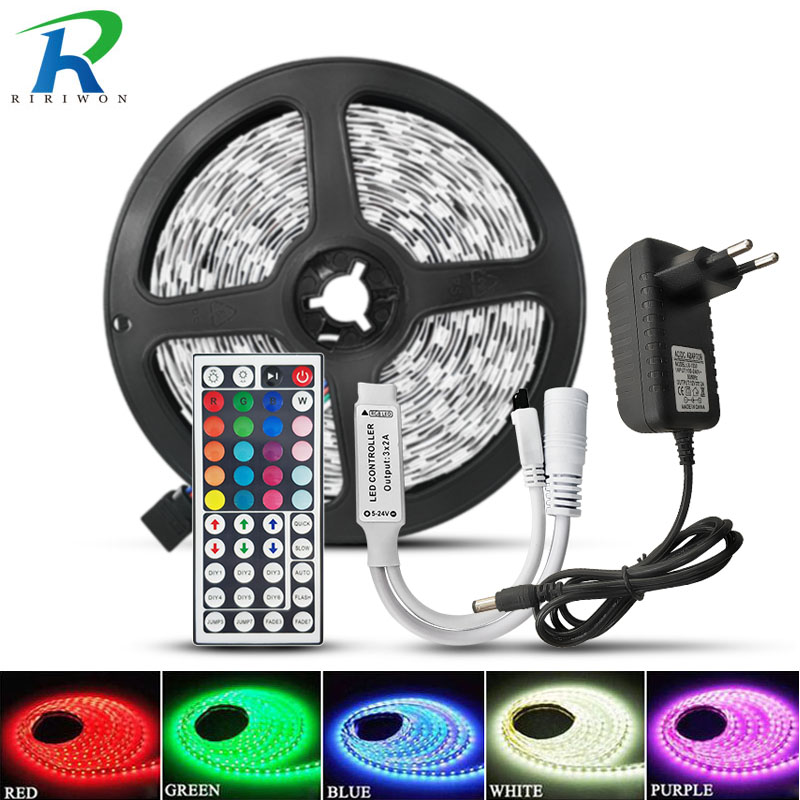RiRi won SMD5050 RGB LED Strip Light 5M 10M 30Leds m DC 12V Tape Ribbon Diode Flexible Waterproof 44keys Controller Adapter Set