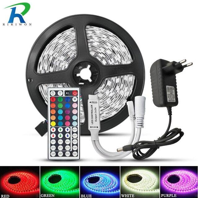 RiRi won tira de luces LED SMD5050 RGB, 5M, 10M, 30LED/m, CC, 12V, cinta de diodo Flexible, impermeable, Juego de adaptadores de controlador de 44 teclas