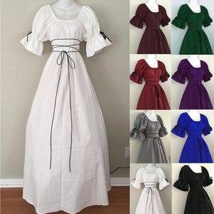 Платье модные женские туфли в винтажном стиле с короткими рукавами-лепестками с О-образным вырезом средневековое платья для костюмированн...