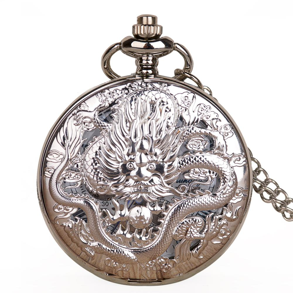 Vintage Silver Skeleton Dragon Mechanical Pocket Watches Mens With Fob Chain For Men Women Retro Pendant Gifts