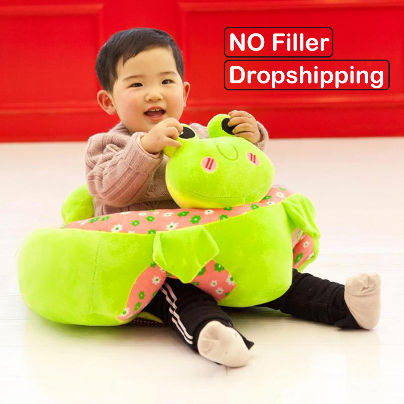 Baby Cartoon Animal Seats Sofa Toys Infant Learning To Sit Cloth Case Kids Plush Seat Support Children Training Toy No Filler