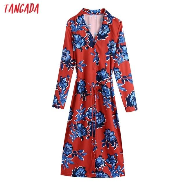 Tangada 2021 Autumn Fashion Women Red Flowers Print Elegant Midi Dress Long Sleeve Office Ladies Dress BE375 1