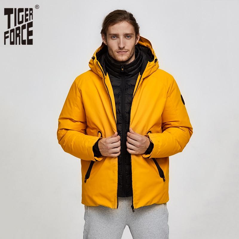 Tiger Force hommes veste d'hiver veste de Sport de Ski pour hommes veste de neige imperméable faux deux veste à capuche mâle chaud épaissir manteau