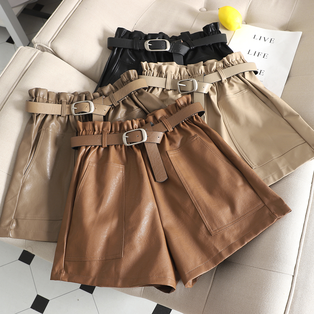 High Waist PU Leather Shorts Women Cool Punk Sashes Wide Leg Shorts Autumn Winter Casual Loose Elastic Waist Leather Shorts 2019