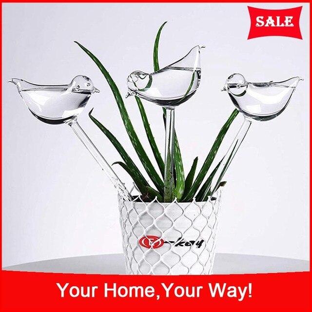 3 Pack Plant Waterer Self Watering Globes, Bird Shape Hand Blown Clear Glass Aqua Bulbs 1