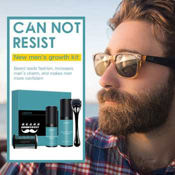 4 Pcs/set Men Beard Growth Kit Hair Growth Enhancer Thicker Oil Nourishing Leave-in Conditioner Beard Grow Spray Set with Comb 1