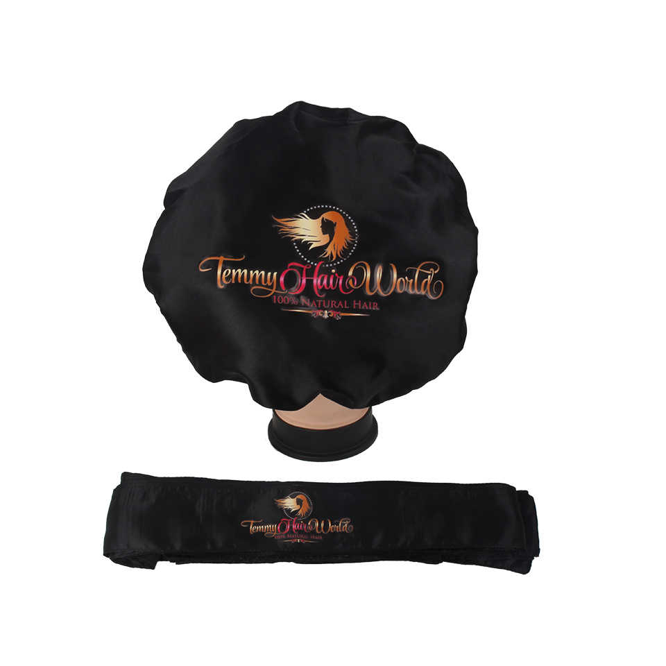 Customized Logo bonnets 2 Layer Satin silk Women sleeping Bonnet Headband tie Caring Virgin hair Extentions Wig Hairs Sleep Caps