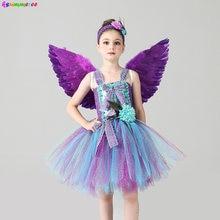 Костюм для девочек с павлином; Платье пачка принцессы цветами