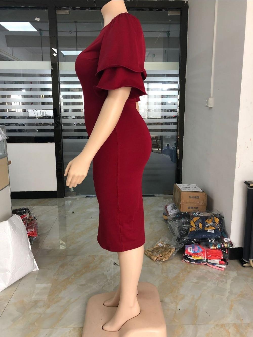 Large size XL-5XL Sudress 2019 Women's Dress O-Neck lanterm Sleeve Slim Night Solid Party short dress (13)
