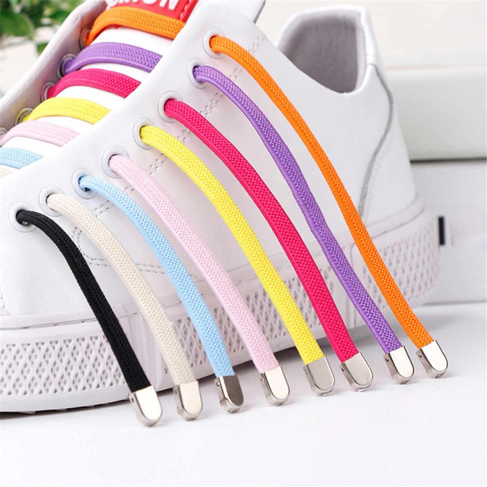 1 par sin corbata Cordones elásticos perezosos para zapatillas de deporte zapatos planos de goma zapatillas de encaje 2019 adultos niños zapatos de colores seguros cuerdas