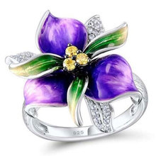 2019 New Fashion Flower Zircon Rings for Women White Gold Color Wedding Bands Jewelry Dropshipping
